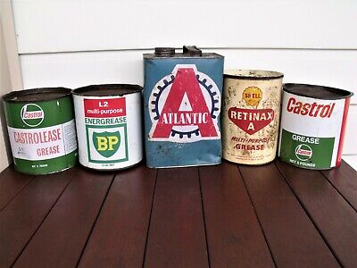 Vintage tins: 5 x old grease/petrol tins.