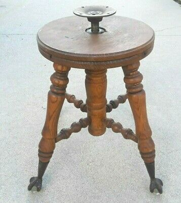 Vintage Old Piano Stool Wood Adjustable w/ Claw Feet Glass Ball
