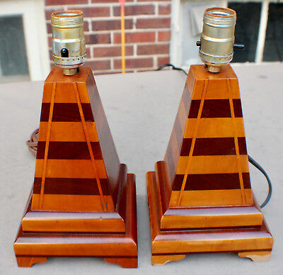 Vintage Mission Arts and Crafts Cabin Decor Pyramid Lamps Homemade c. 1930's
