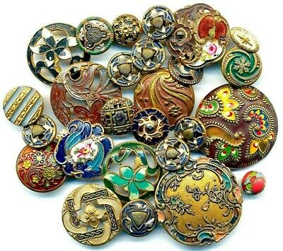 Large Lot of Antique Painted Metal Buttons