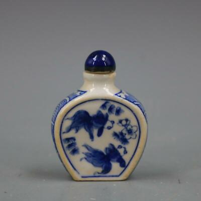 JingDeZhen white and blue porcelain handmade goldfish snuff bottle collectable