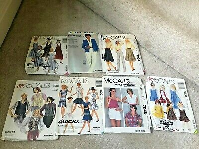 7 Vintage McCall's 1980s Women Outfit Patterns Cut & Uncut Craft Sewing