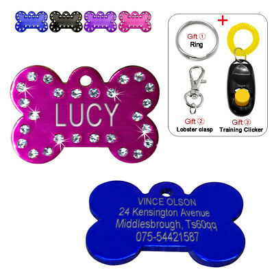 Bling Bone Shape Custom ID Tags Dog Personalized Engraved Pet Name Tag Disc Disk