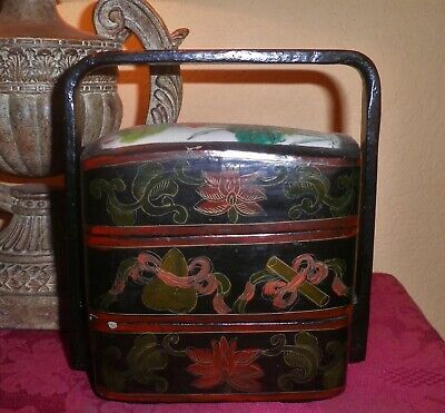 Antique Chinese Ceramic Floral Motif Stacking Nesting Wedding Lacquer Box