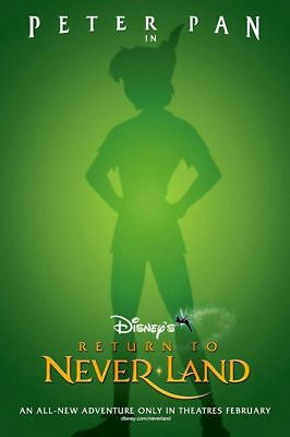 Peter Pan Return To Neverland Disney Animated Double Sided 27x40 Movie Poster