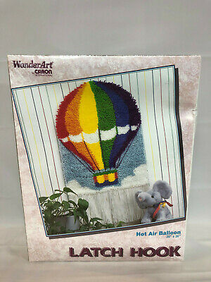 Vintage Caron WonderArt Hot Air Balloon 20 X 36 Latch Hook Kit NIB New Sealed