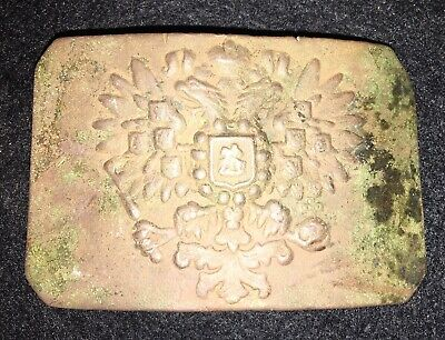 Antique IMPERIAL CZARIST RUSSIAN ARMY BELT BUCKLE Brass RARE War Relic
