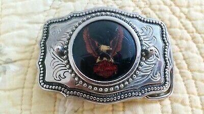 HARLEY-DAVIDSON VINTAGE EAGLE LOGO BELT BUCKLE - Made in USA