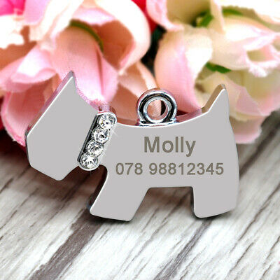 Bling Dog Shape Pet Tags Personalized Name ID Tags Number Engraved for Free