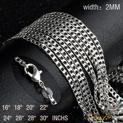 New 925 Sterling Silver Filled 2mm Classic Chain Necklace For Pendants