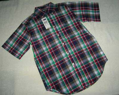 Nwt Chaps Ralph Lauren Boys Size 8 Button Front Plaid Dress Shirt Top