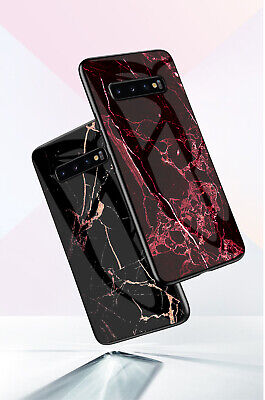 Luxury Marble Tempered Glass Phone Case For Samsung Galaxy S10 S9 S8 Plus Note