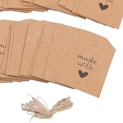Kraft Paper Vintage Made With Love Gift Cards Blank Label Hang Tags 100pc