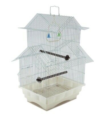 Bird Cage House Style - WHITE - Starter Kit, Swing Perch Feeders - Two Storyb