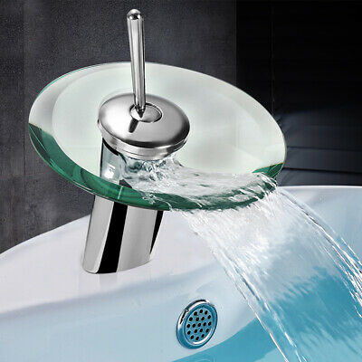 Bathroom Basin Sink Glass Faucet Hot Cold Mixer Tap Chrome Brass Single Hole US