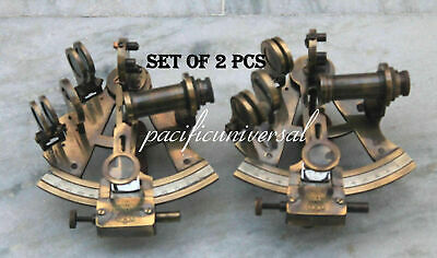 SET OF 2 NAUTICAL SEXTANT 4 INCH ASTROLABE ANTIQUE BRASS SHIP's INSTRUMENT