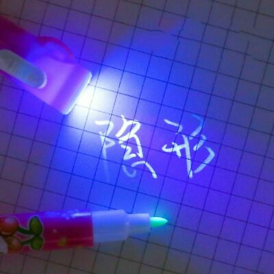 2 In 1 UV LED Ultra Violet Flashlight Marker Drawing Invisible Ink Pen School