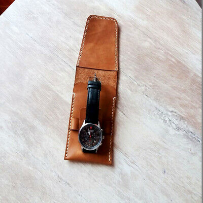 Handmade Watch Case Roll Travel Storage Bag Pouch Genuine Leather Personalised