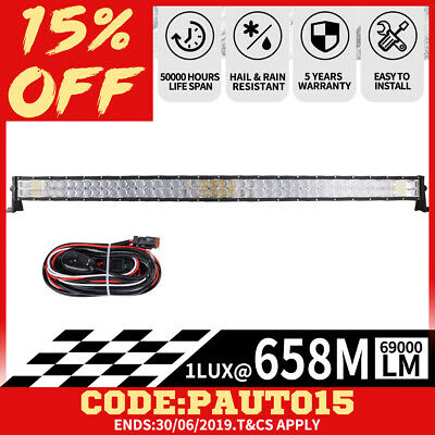 50inch 5D CREE CURVED LED Light Bar Spot Flood Offroad Driving Lamp Truck 52''