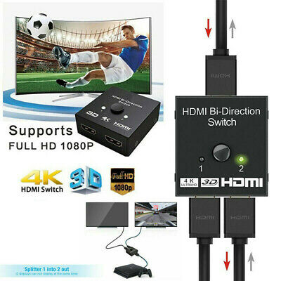 Para HDTV Xbox PS4 TV BOX HDMI Splitter Switch 1 In to 2 Out 4K 3D 1080P
