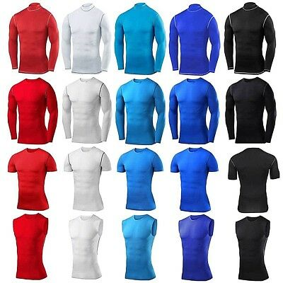 Mens Gym Wear Compression Base Layer Top Shirt Under Body Armour Running Tights