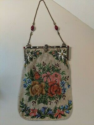 Antique Victorian Micro Beaded Floral Bouquet Bag Purse w/Filigree Metal Frame