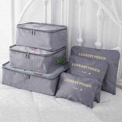 6x Travel Bag Packing Cubes Pouch Luggage Organiser Clothes Suitcase Storage Bag