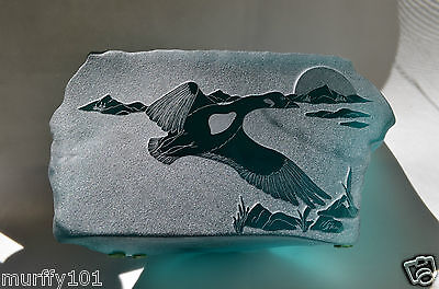 Vintage Rare Siku Green Glass Carving Canada Goose Made In Canada Decal & Signed