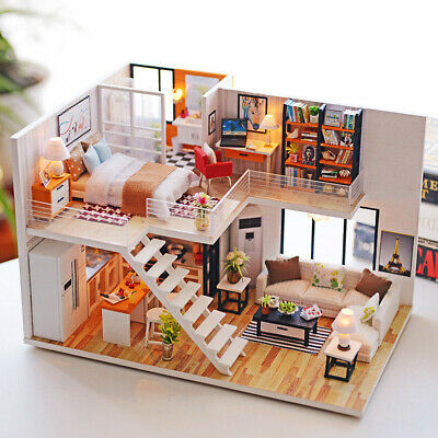 DIY Wooden LED Light Loft Apartments Dollhouse Miniature Kit w/ Furniture Gift