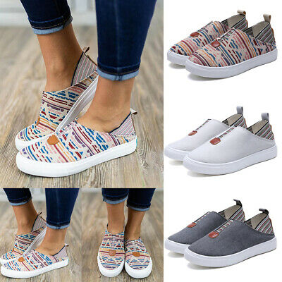 Women Ladies Flat Plimsolls Pumps Slip On Canvas Trainers Casual Shoes Loafers