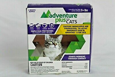 Adventure Plus Large Cats Topical Flea Control 4 Month Supply Waterproof Sealed