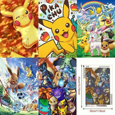 Pokemon Full Drilled 5D Diamond Painting Embroidery Cross Stitch Art DIY Kits QC