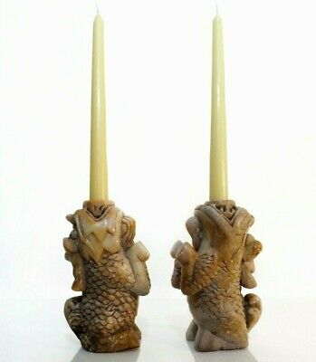 Antique Chinese Pair Finely Carved Soapstone Foo Dog Candlesticks, W/Nat Patina