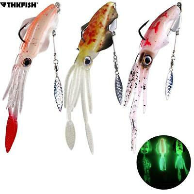 1 pcs 20g Saltwater Squid Soft Bait Glow Octopus Fishing Lure with 9g Blade Hook