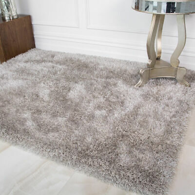 Silver Large Shaggy Floor Rug Plain Soft Sparkle Area Mat 5cm Thick Pile Glitter