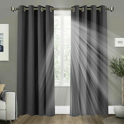 Pair of THERMAL BLACKOUT CURTAINS READY MADE EYELET TOP + TIE BACKS DOOR CURTAIN