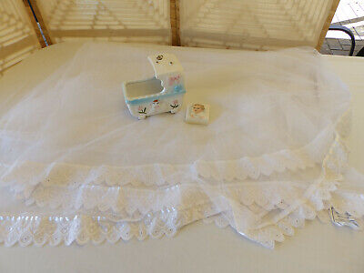 Vintage Baby Bassinet Cover + Ceramic Musical Baby Carriage + Baby Brooch