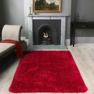 SHAGGY RUG 50mm HIGH PILE RED M SIZE LARGE THICK SOFT LIVING ROOM FLOOR BEDROOM