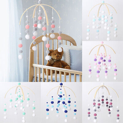 Baby Crib Hanging Pom Pom Ball Wool Felt Mobiles Wall Nursery Decors Wind-bell