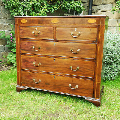 George III Mahogany Inlaid Large 4 Height Chest of Drawers C1800 (Georgian)