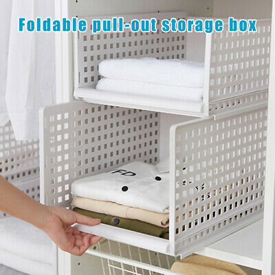 Folding Pull-Out Storage Box Bin Drawer Organizer DIY Cabinet Shelves Home Decor
