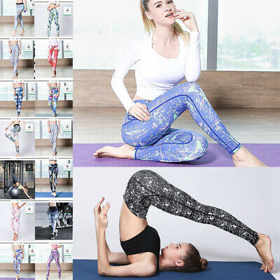 Women Sports Gym Fitness Print Yoga Leggings Dance Tights close-fitting Pants