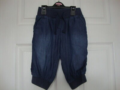 Next Girls Blue Pull-on Crop Trousers size 5 years