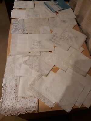 Collection Of Vintage Ladies Lace & Embroidered  Handkerchiefs