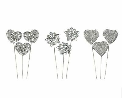Delicate Diamante Florist Wire Pick x 30mm x 20cm - Pack of 3 - Flower or Heart