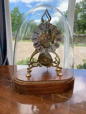 Antique English 8 Day Single Fusee Skeleton Clock Under Glass Dome