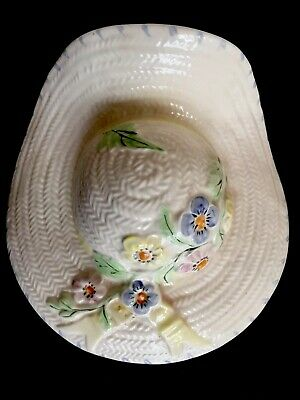 1930s Art Deco Hand Painted Signed JP Pottery Straw Hat Wall Pocket Flower Vase