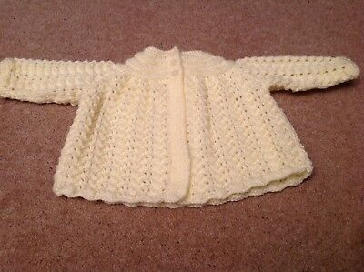 Hand knitted Pale Yellow baby Matinee Coat. lace Effect.size 3/6 Months