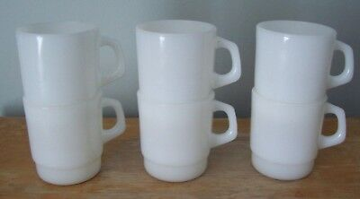 Lot Of 6 Vintage Milk Glass Termocrisa Stacking Coffee Mugs - Made In Mexico