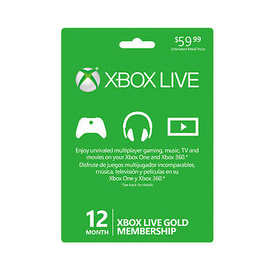 Region Free Microsoft Xbox One 360 Live Gold 12 Month Membership Card (Global)